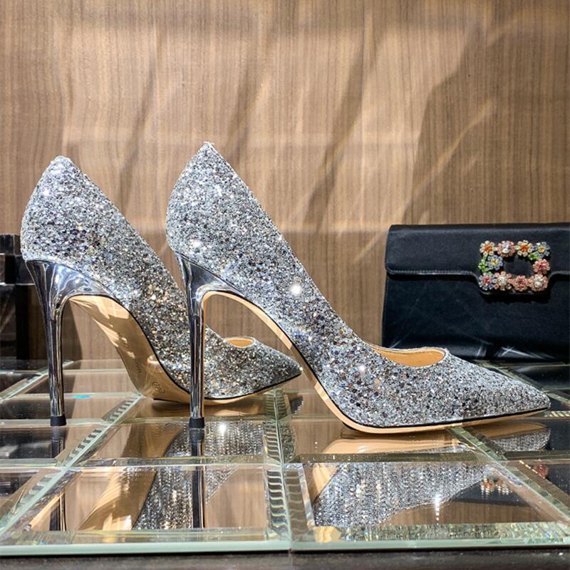 Женские туфли на высоком каблуке, Роскошные блестящие Серебристые туфли с острым носком на шпильке для женщин, сексуальные свадебные туфли,...