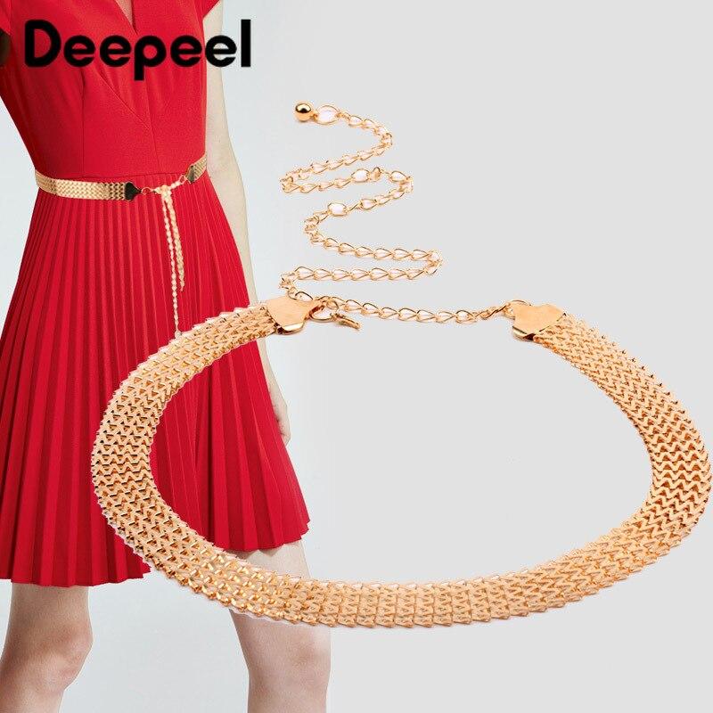 Deepeel, 2/4 Uds., 110cm, faja ancha de Metal para mujer, exquisita decoración, cinturón de cadena ajustable Twotwinstyle para vestido CB659