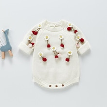 Brand Children's Wear 2021 Spring And Autumn New Strawberry Knitting Fine Wool Soft One-piece Baby T