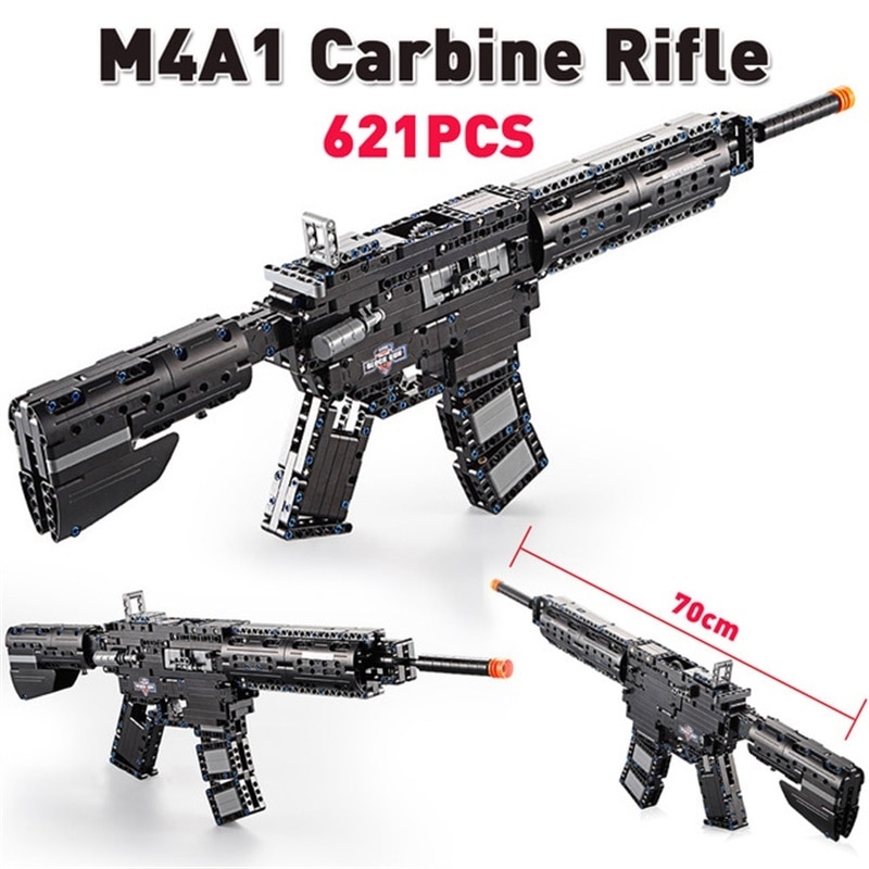 m4a1 carbine plastic airsoft air guns submachine technic building block brick fit for legos kids outdoor game model pubg toy gun 621PCS M4A1 Carbine Gun Model Building Block Military City High-tech Launch Gun Educational Toys for Kids Educational Gift