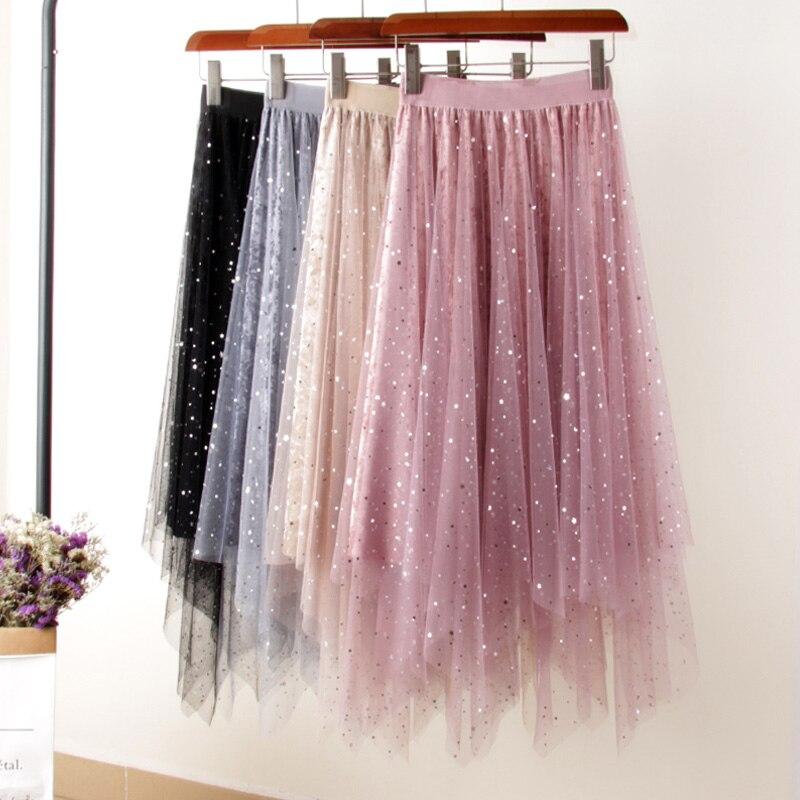 Autumn Starry Tulle Velvet Patchwork A-line Irregular Long Skirt Elastic High Low Galaxy Mesh Mid Calf Pleuche Pleated Skirts