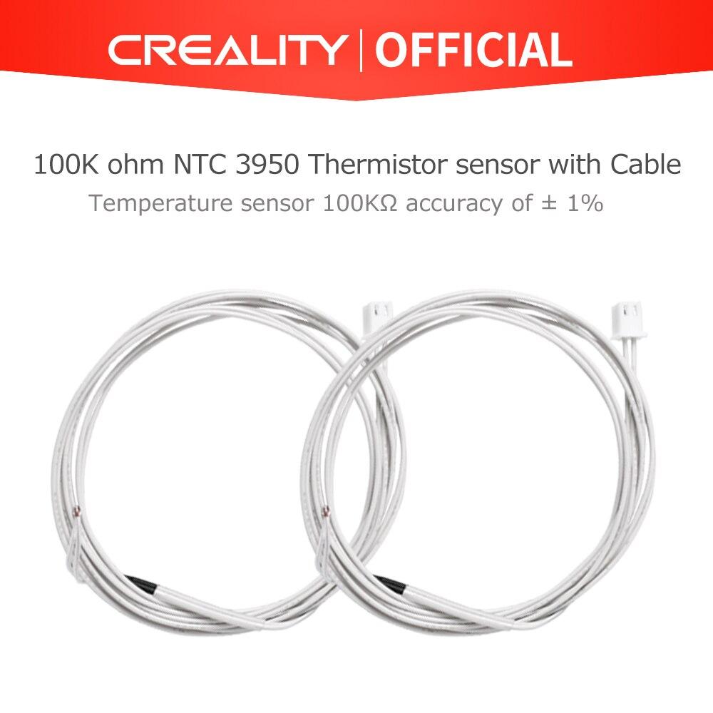Piezas de impresora 3D CREALITY 2 unids/lote 5V 100K ohm NTC 3950, termistor extrusor con Cable para impresora