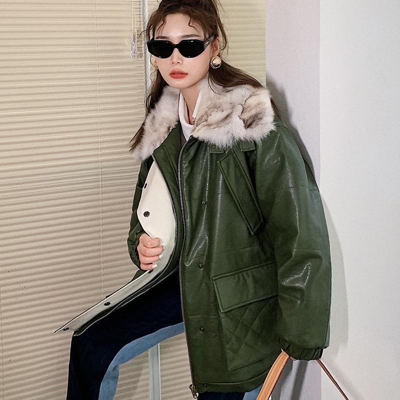 Original Design Green Faux Leather Jacket Women Fluffy Fur Collar Loose Thick Warm Cotton Coats Fashion Punk Street Clothing enlarge
