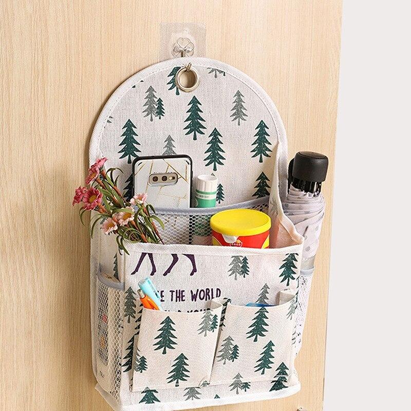 Wall Mounted Magazines Books Snacks Storage Bag Waterproof Cotton Linen Hanging Bags Room Desktop Organizer with Hook Pocket