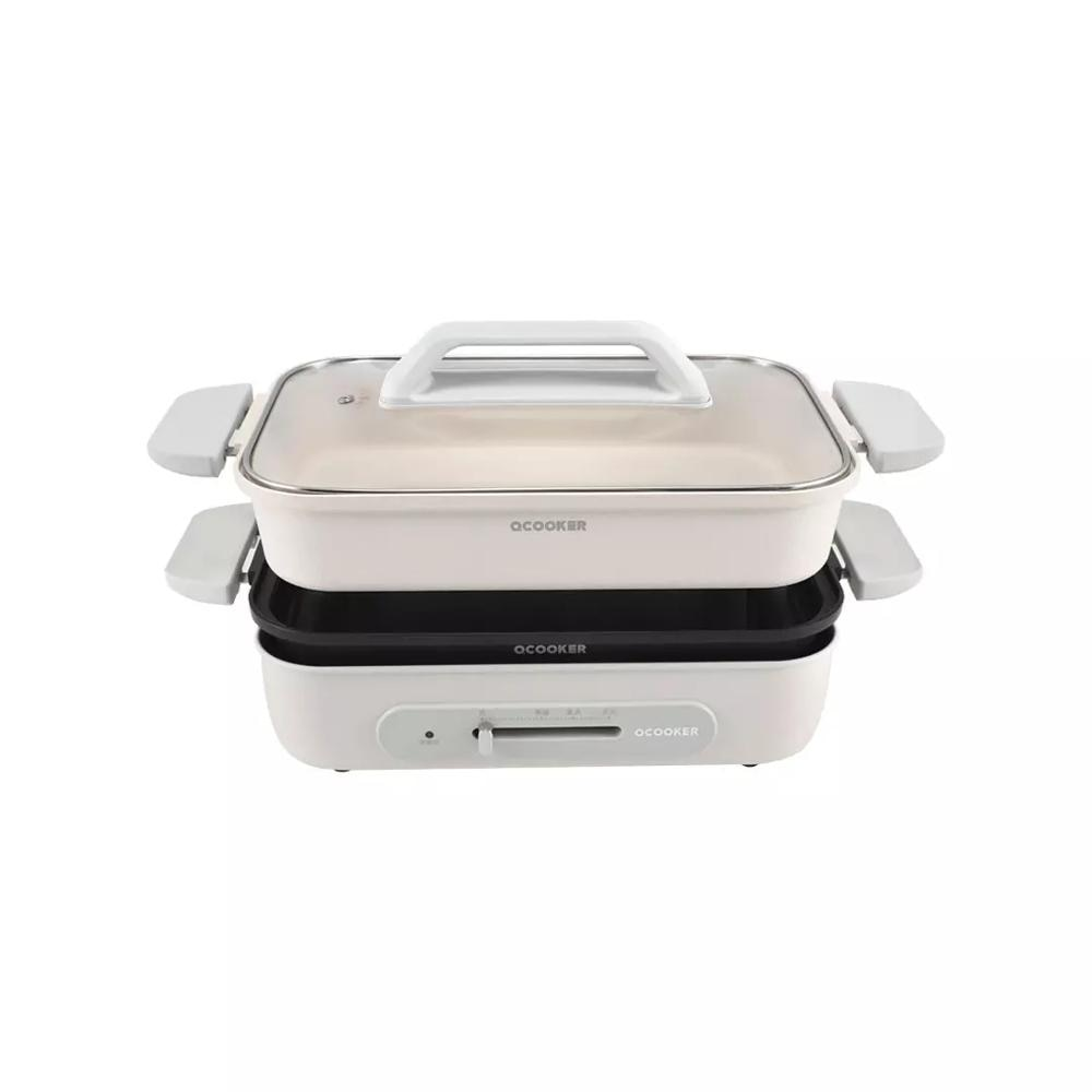 Ocooker Roasting Pan 3L 220V-1300W Master Pot Fryer Pan Breakfast Non-Stick Grill Fry Oven Meal Skillet Kitchen for Smart Home