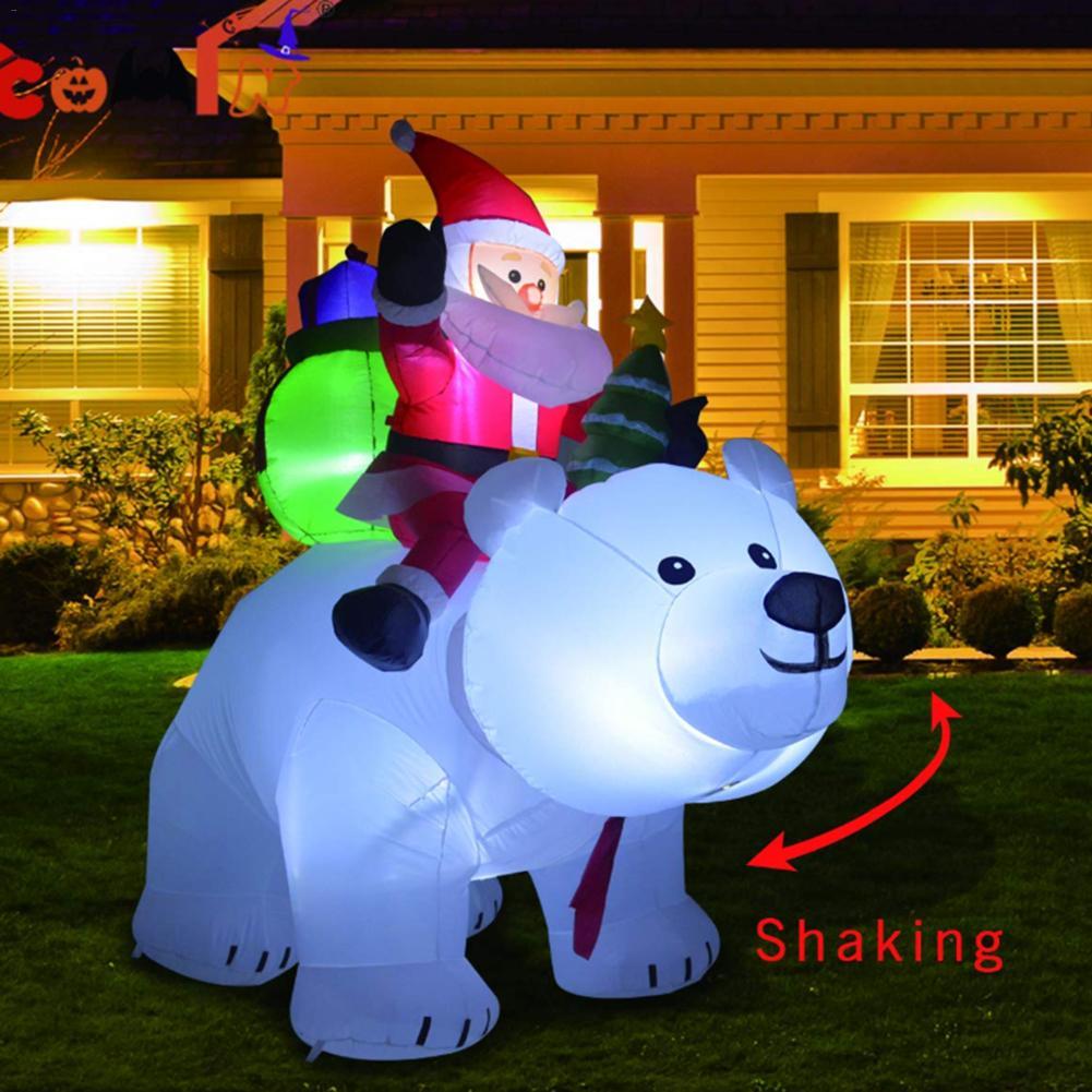2 متر الدب القطبي بابا نويل كريسماس قابل للنفخ ركوب الدب القطبي LED تهز رئيس دمية داخلي في الهواء الطلق حديقة ديكور عيد الميلاد