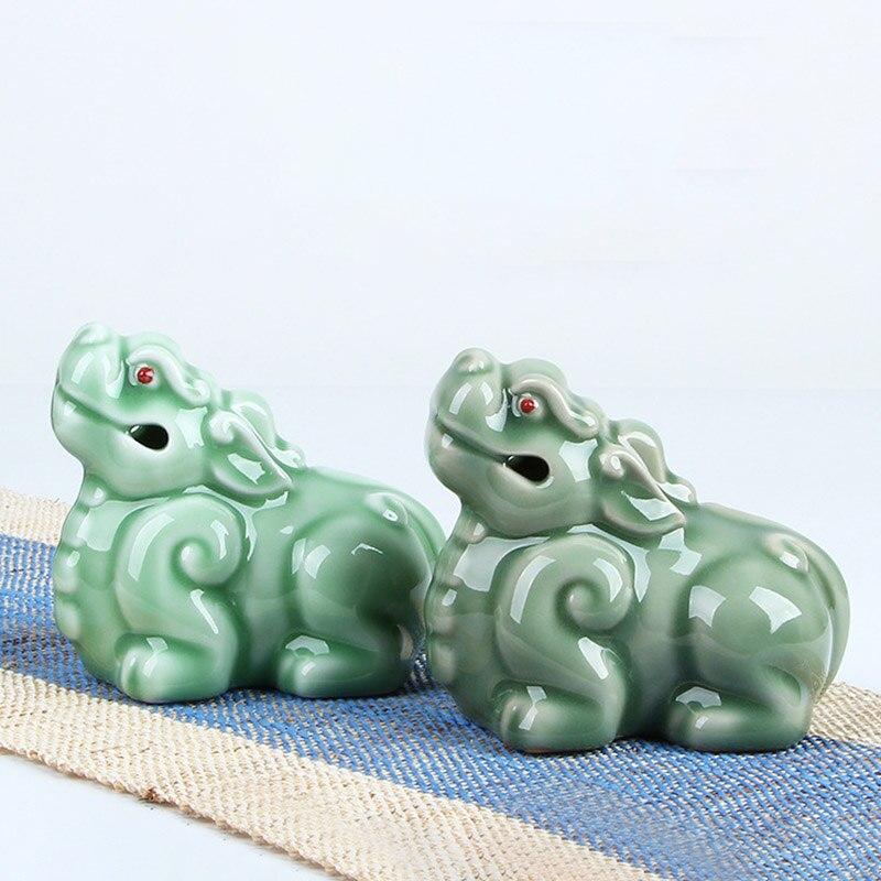 الإبداعية Longquan Celadon محظوظ Pixiu شاي سيراميك الحيوانات الأليفة الكونغ فو طقم شاي حفل الشاي الحرف اليدوية الحلي