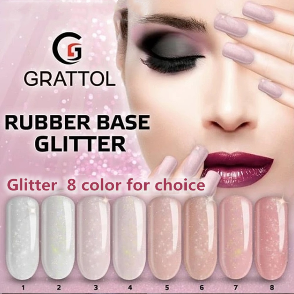 GRATTOL Professional Glitter Rubber Base Gel Varnish Nude Nail Base Coat Manicure Tempered Top Semi-