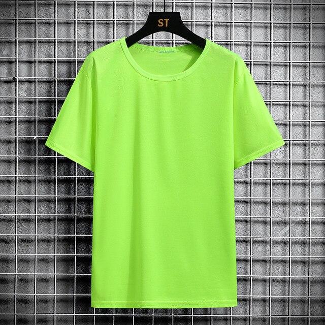 Camiseta de manga corta de algodón 2021 puro, Camiseta holgada de color sólido, top de talla grande de media manga