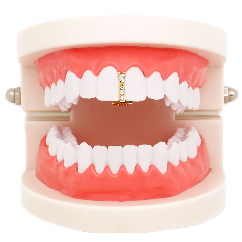 1 Pc Gold Silver Color Grillz Crystal Stick Shape Top Teeth Grillz Punk Grills Dental Gold Tooth Cap