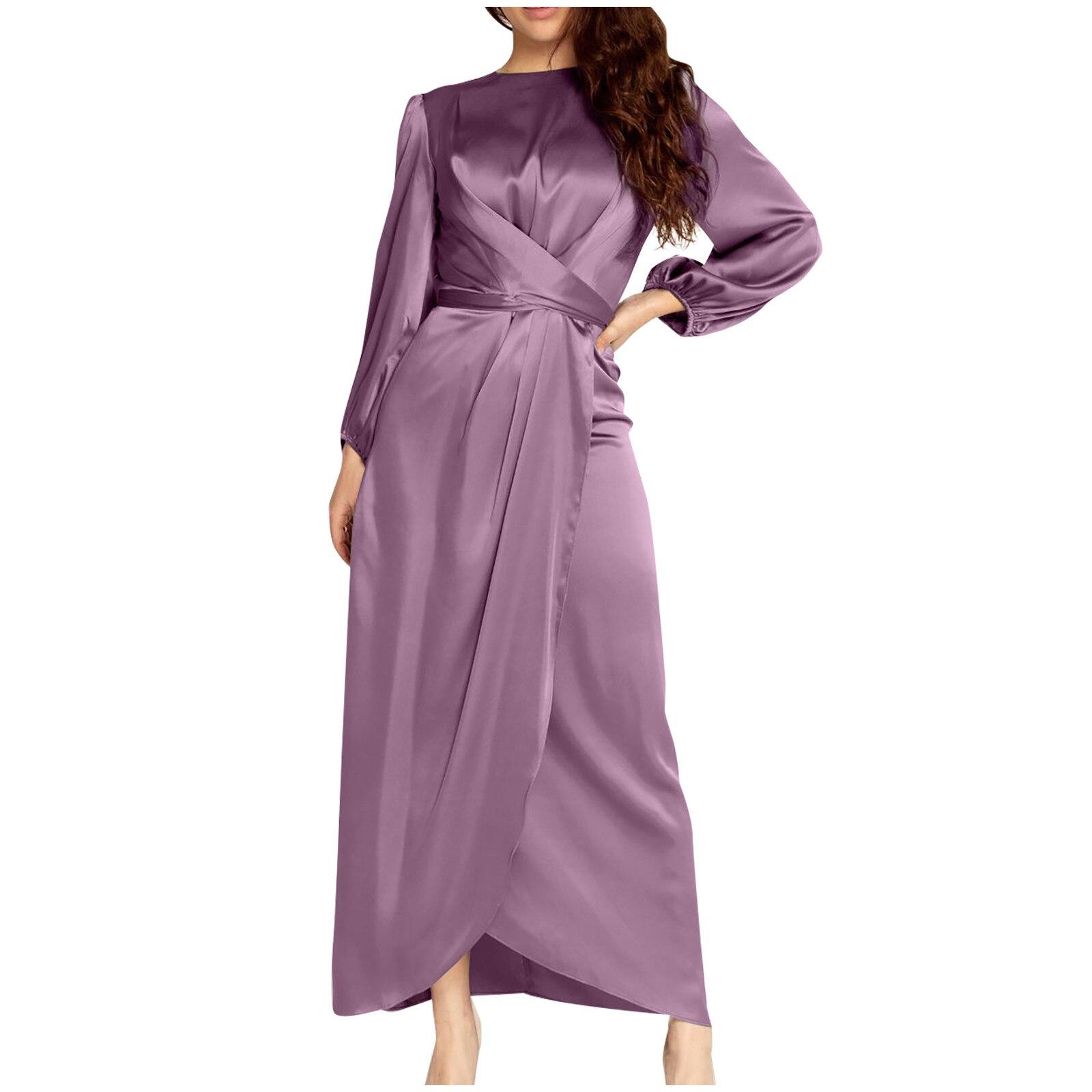Vestido largo de satén con escote redondo para mujer, de Color liso...