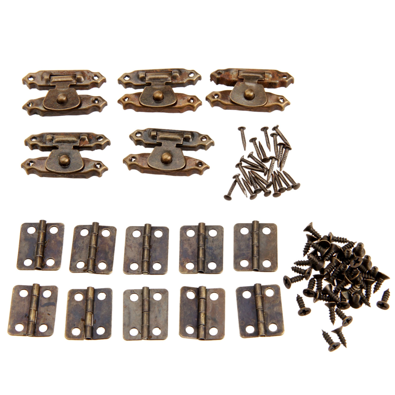 15pcs/set Antique Bronze Round Hinges Iron Decorative Vintage + Latch Hasps Jewelry Box Toggle Lock