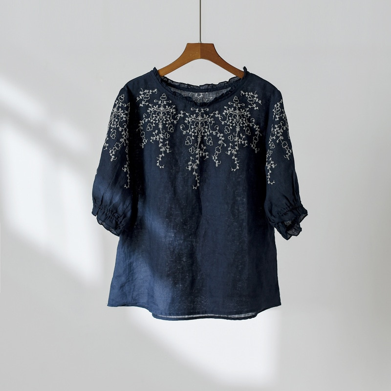 2020 Summer New Women Embroidery Floral T-Shirts Ramie Lantern SleeveVintage Women Cloths Casual T-Shirts  - buy with discount