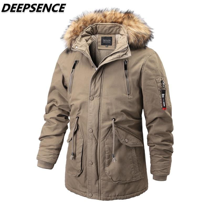 Men Parkas Cotton Jacket Thick Warm Corduroy Winter Outdoor England Mid-Length Hooded Detachable Fur