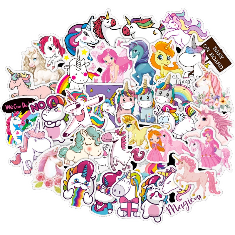 10/30/50PCS Cute Unicorn Waterproof Stickers Car Motorcycle Travel Luggage Phone Guitar Laptop Classic Toy Kid Cool Sticker Gift