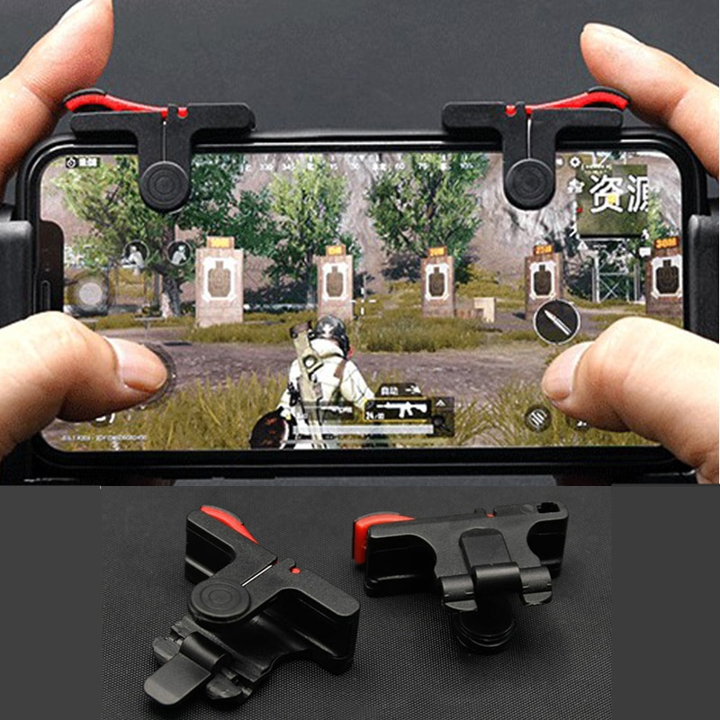 2Pcs PUBG Moible Phone Controller Gamepad Free Fire L1 R1 Trigger Game Pad Grip Joystick for iPhone