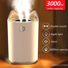 EZSOZO 3000ML Household Air Humidifier Dual Nozzle Cold Mist Aroma Diffuser with Colorful LED Light Ultrasonic USB Humidifier