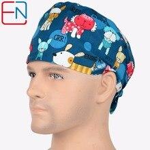 Gorras de fregado Hennar para hombres y mujeres de pelo corto con bandas de sudor gorra de laboratorio gorra de calavera 2 tamaños a elegir