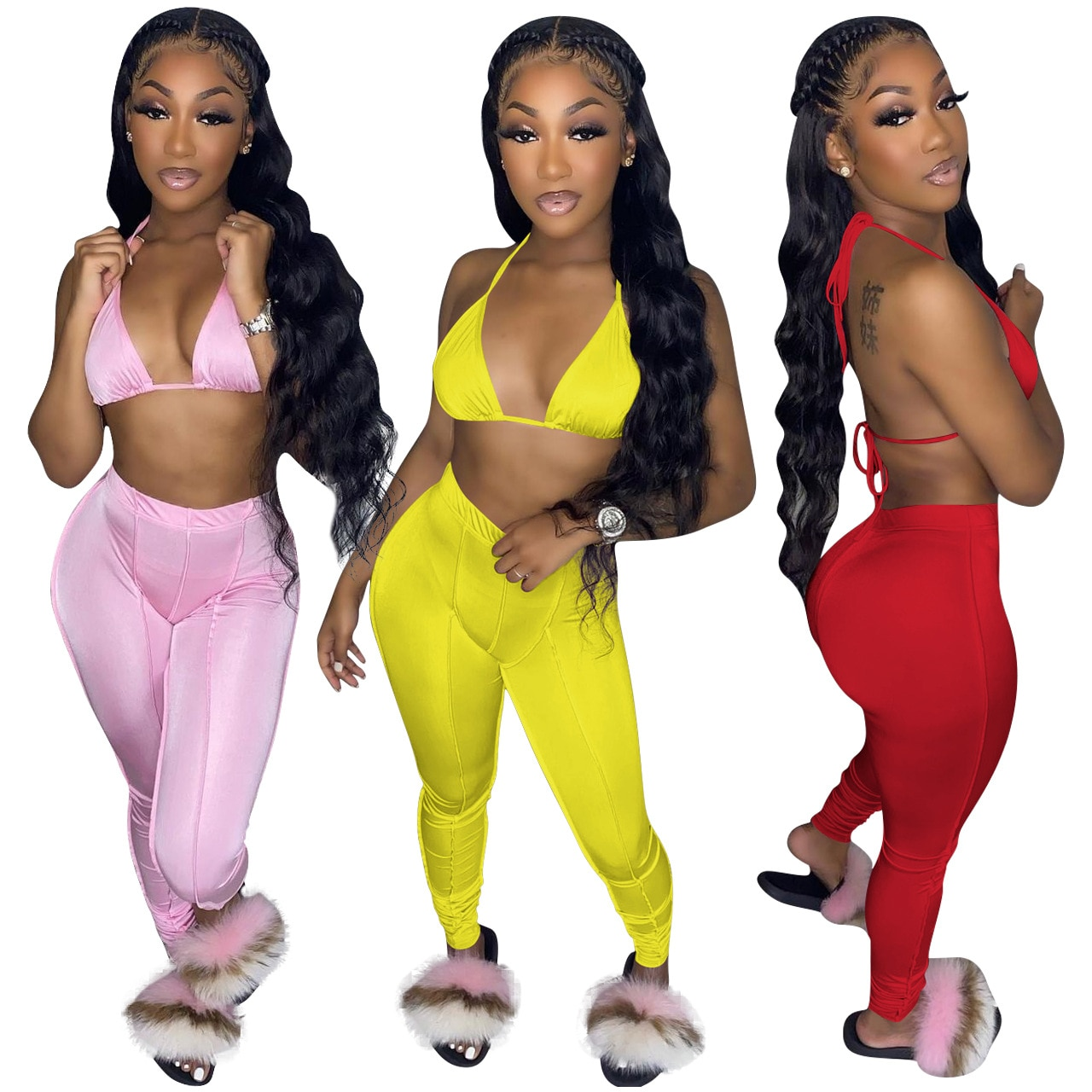 Уличной моды сплошной с лямкой на шее бюстгальтер на шнуровке укороченный топ + брюки зауженные джинсы комплект из двух предметов сексуальн...