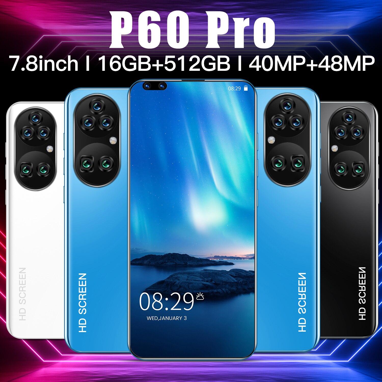 هاتف P60Pro موديل 2021 إصدار عالمي بشاشة 7.8 بوصة هاتف محمول فائق الوضوح يعمل بنظام الأندرويد مزود ببطارية 5600 مللي أمبير في الساعة وكاميرا 48 ميجا بك...