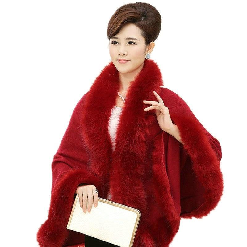 Moda Otoño Invierno mujeres alta calidad falso cuello de piel de zorro lana Cachemira Poncho capas de punto Cardigan suéter abrigo MY03