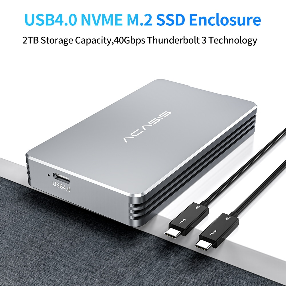 Acasis USB 4.0 Mobile M.2 Nvme Enclosure 40Gbps Type C Interface Compatible with Thunderbolt 3 /4 and USB 4/ 3.2/3.1/3.0 enlarge