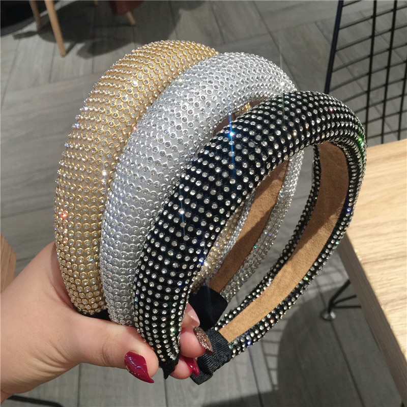 Feminino brilhante acolchoado completo strass hairbands de cristal de luxo headbands para meninas cor sólida aros de cabelo senhora acessórios de cabelo