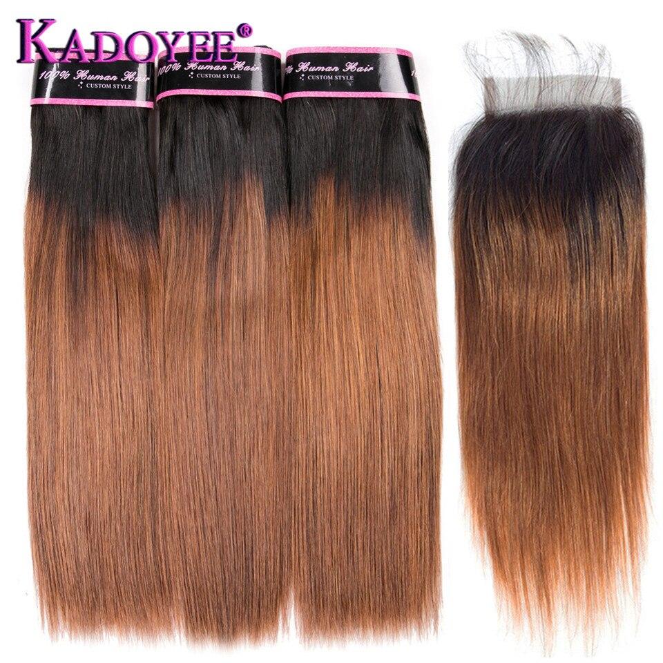 أومبير الشعر البرازيلي مستقيم 1B/30 براون نسج على شكل شعر إنسان حزم مع إغلاق 3 + 1 Bunldes خصلات شعر ريمي ملحقات 10-26 بوصة