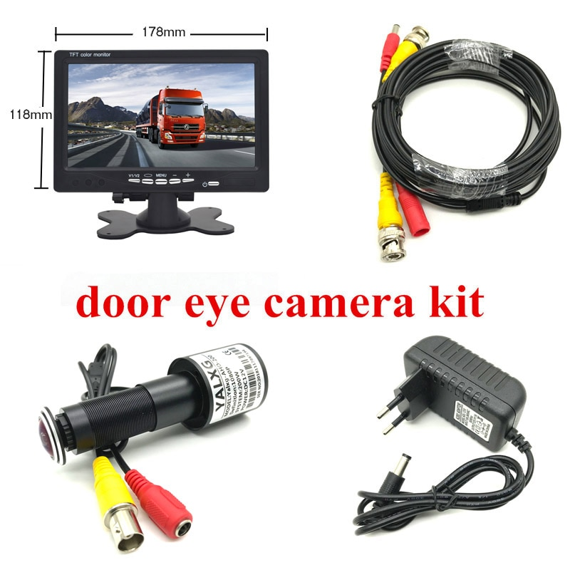 "HD ojo de la puerta CCTV sistema 2MP Lente ojo de pez 1080P AHD Mini mirilla cámara con 7 ""lnch AHD IPS Monitor puerta agujero sistema de cámara"