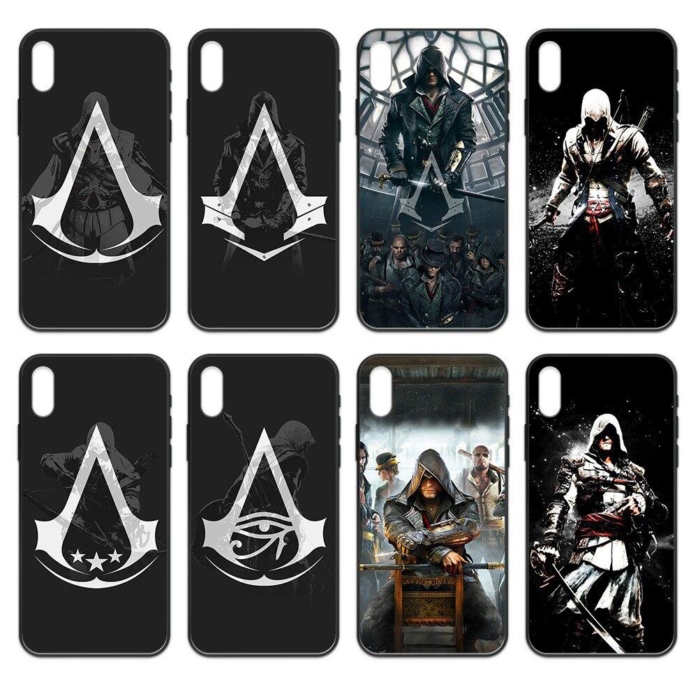 Assassin Creed salto de fe estuche negro cubierta de la caja del teléfono del casco para iphone 4 4s 5 5S SE 5C 6S 6 7 8 plus X XS X XR 11 PRO MAX 2020