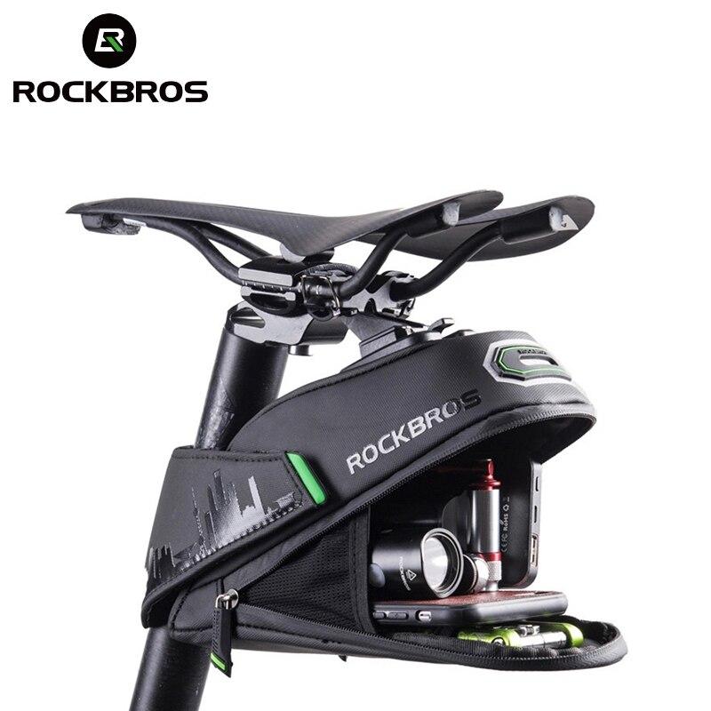 AliExpress - ROCKBROS Rainproof Bicycle Bag Shockproof Bike Saddle Bag For Refletive Rear Large Capatity Seatpost MTB Bike Bag Accessories