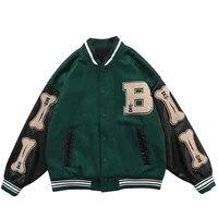 mens hip hop baseball jacket coats hip hop furry bone patchwork color block college style bomber jacket baseball coats 3 color