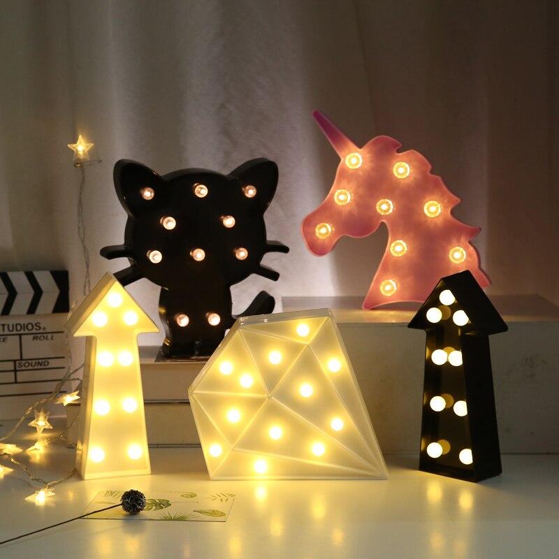 Lámparas decorativas 3D con diseño de corazón de marquesina, letras con luces para interiores, luz nocturna LED, decoración para fiesta de boda