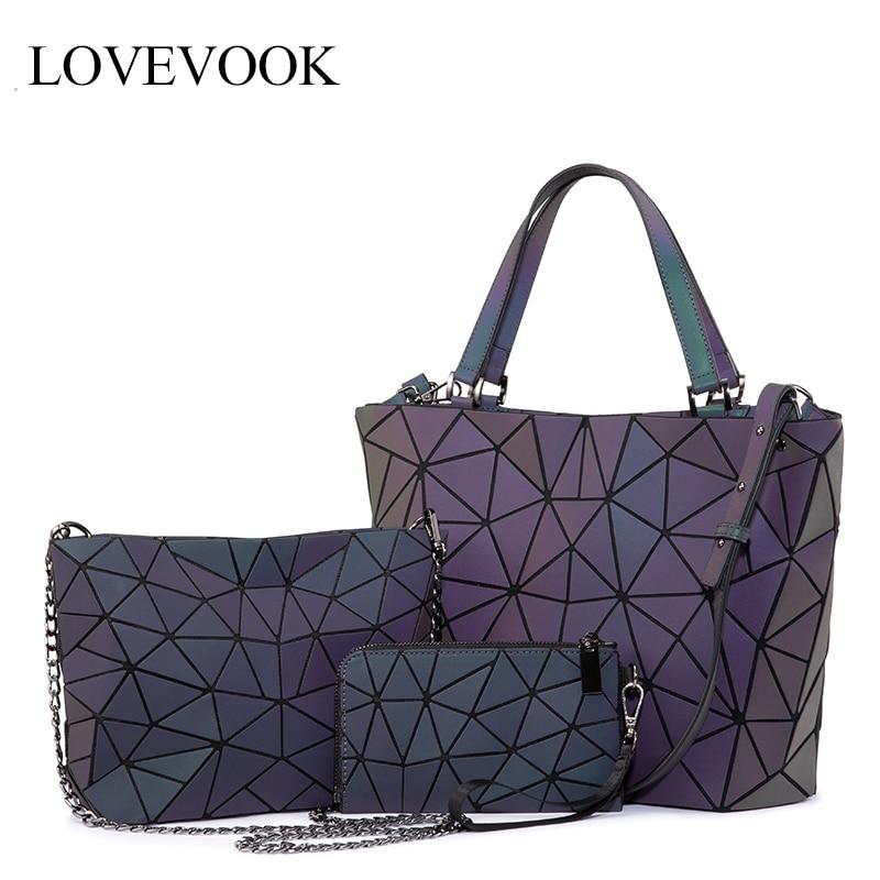 Lovevook feminina bolsa de ombro luxo conjunto geométrico luminosa bolsa tote crossbody bolsa feminina e carteira para senhoras 2020