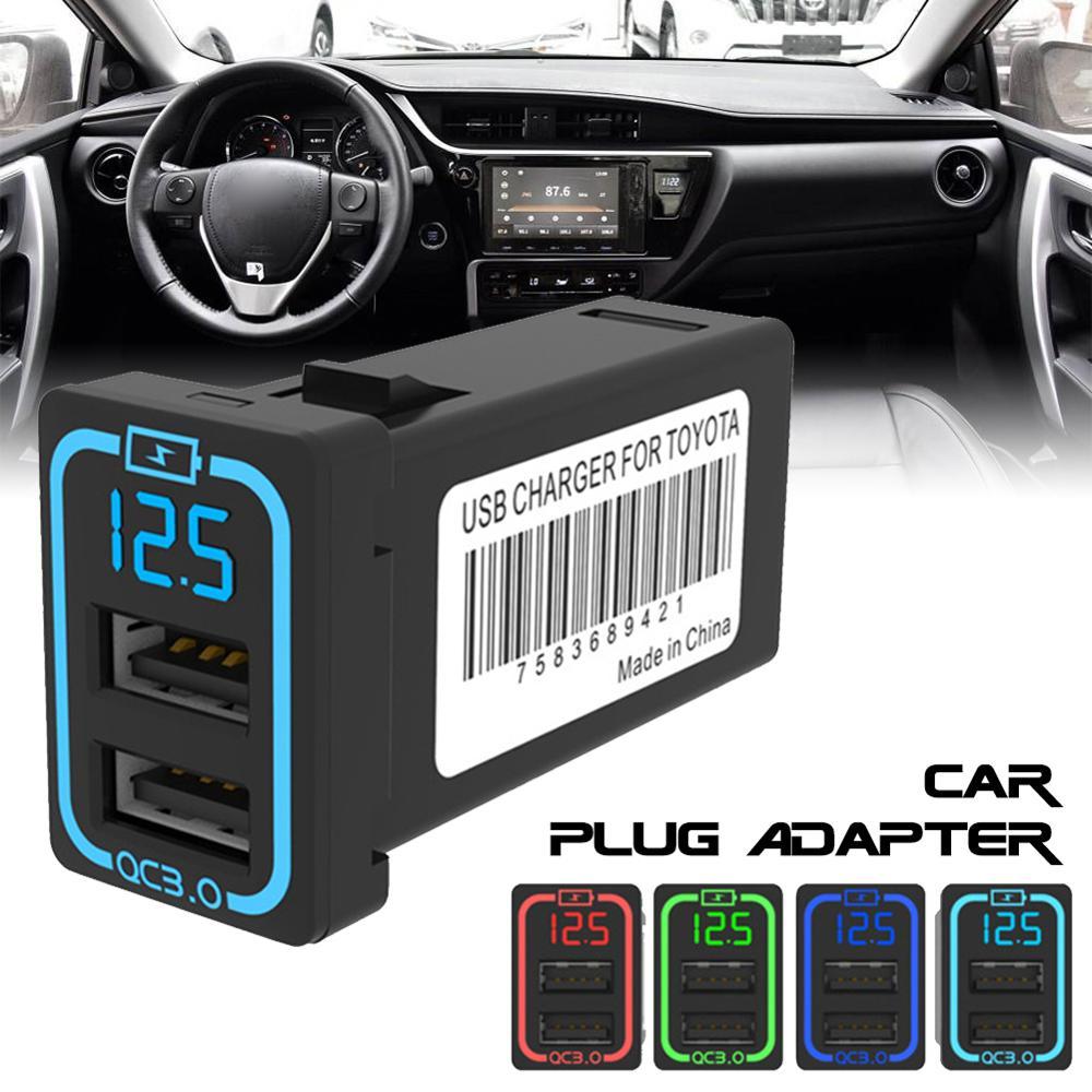 Двойной USB быстрый адаптер QC3.0 автомобильное зарядное устройство светодиодный ным дисплеем для телефона автомобильное зарядное устройство...