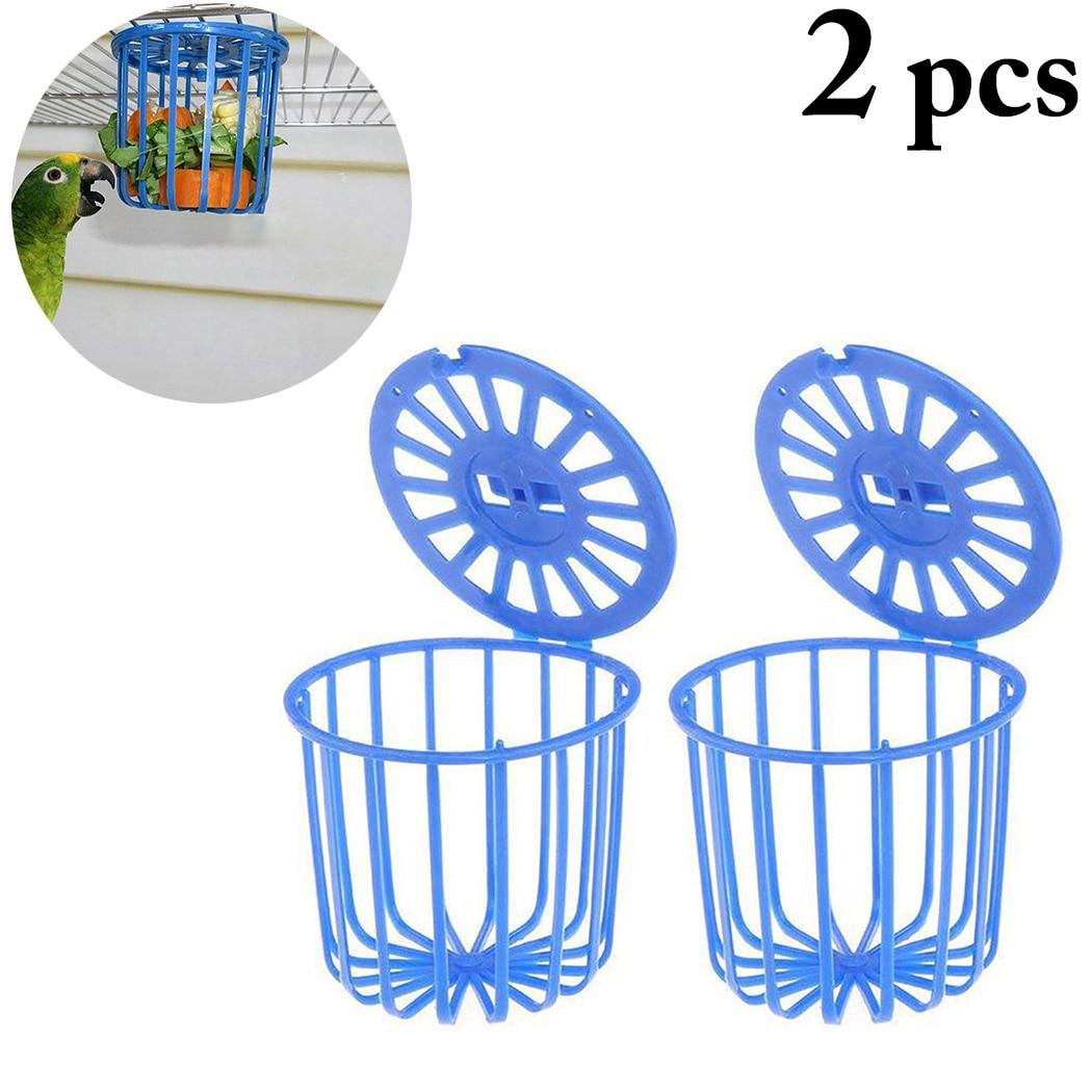 2PCS Creative Multi-Purpose Cage Hanging Toys Bird Fruit Vegetable Feeder Basket Parrot Feeder Pet F