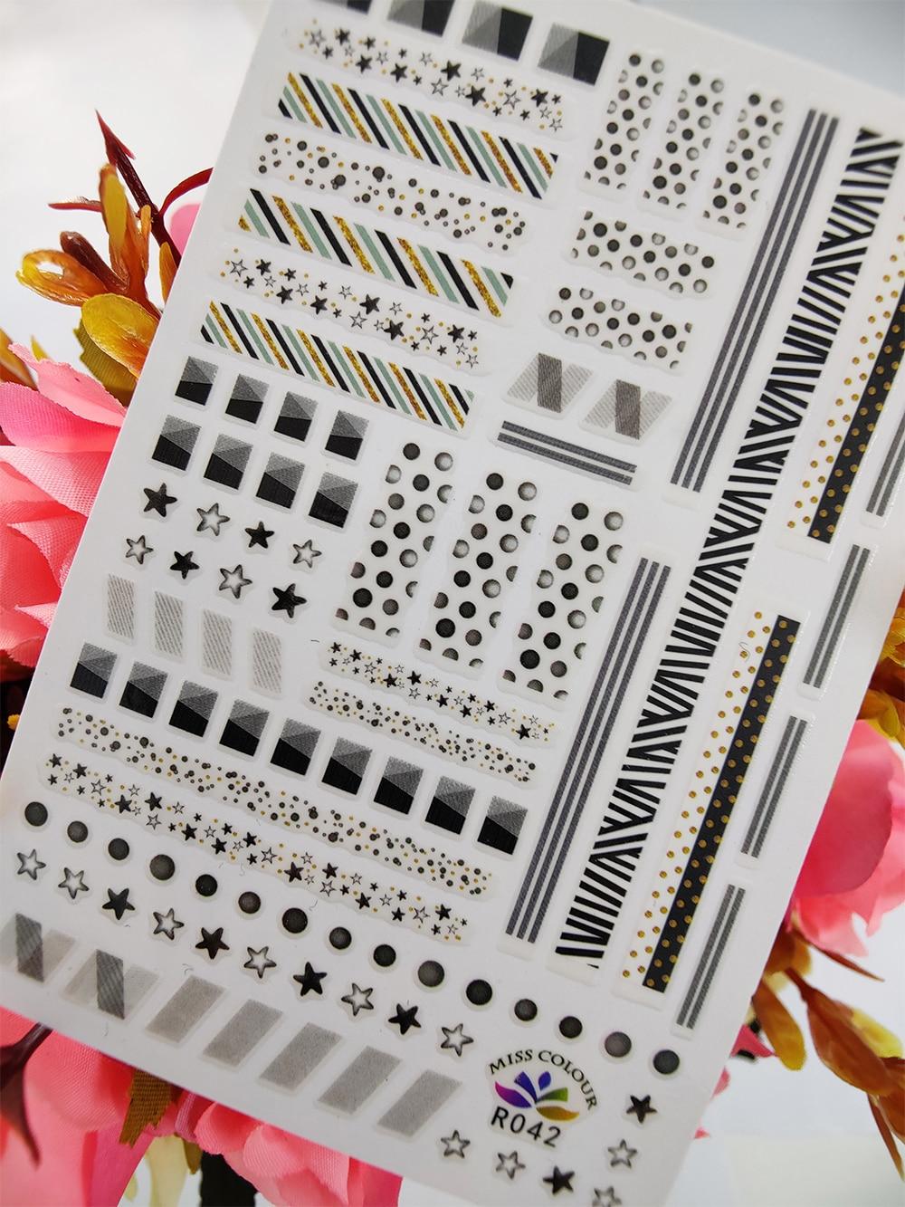 Adhesivos para manicura 3D Líneas geométricas Puntos Estrella Auto adhesivo adhesivos para...