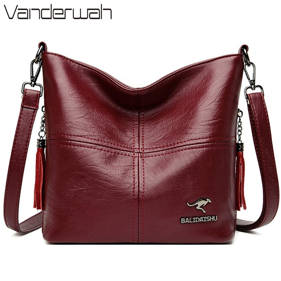 Female Shoulder Crossbody Bags for Women 2021 Ladies Soft High Quality Leather Luxury Kangaroo Brand Handbags Tassel Bucket Bag
