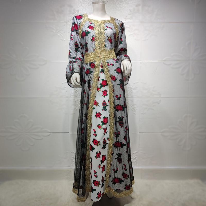 Abaya Dress for Women Plus Size Eid Mubarak Middle East Dubai Turkish  Kaftan Party Evening Robes Ethnic Gold Thread Embroidered