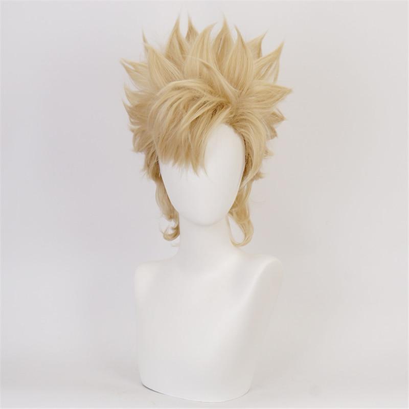 40cm anime jojo bizarro aventura júlio césar zeppeli cosplay perucas jogando luz cabelo amarelo halloween 11 perucas