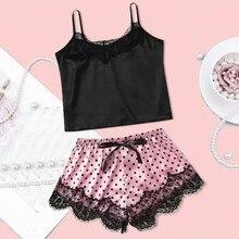 pajamas for women Lace Satin Wireless Bra Camisole Pajamas Sleepwear Bowknot Shorts Set Nightwear Sl