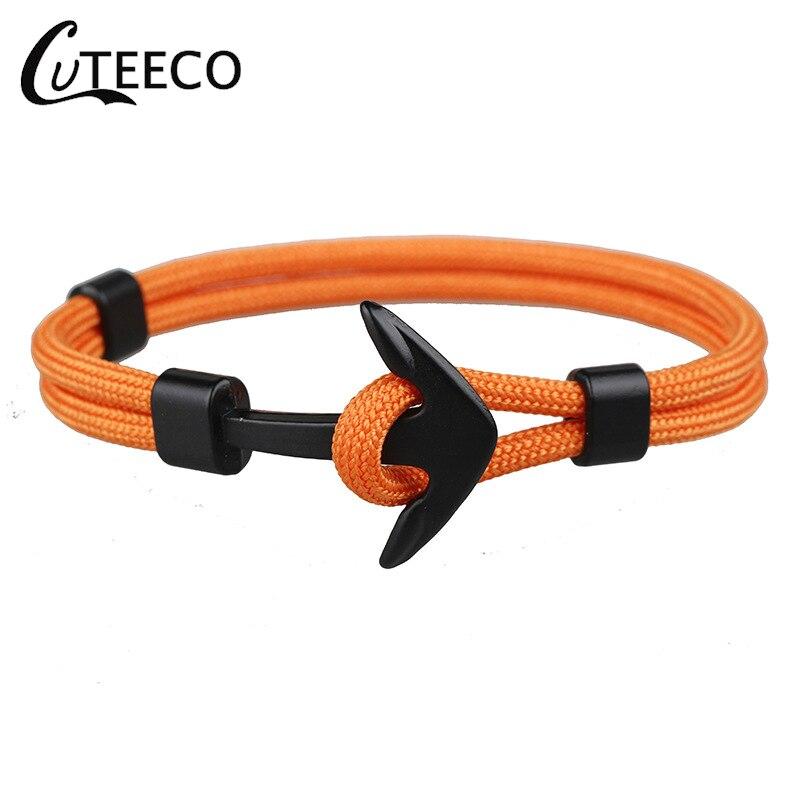 Cuteeco nova moda preto âncora pulseiras homens charme 550 sobrevivência corda corrente paracord pulseira masculino envoltório metal esporte ganchos