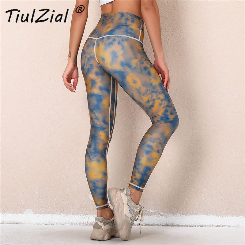 Tiulzial tie seco estiramento leggings mulheres empurrar para cima elástico de cintura alta leggings outfit esporte retalhos leggings