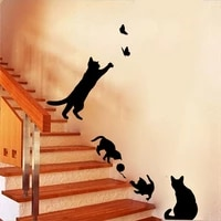 cat catches butterfly living room bedroom background wall decoration painting wall sticker home decor accessories