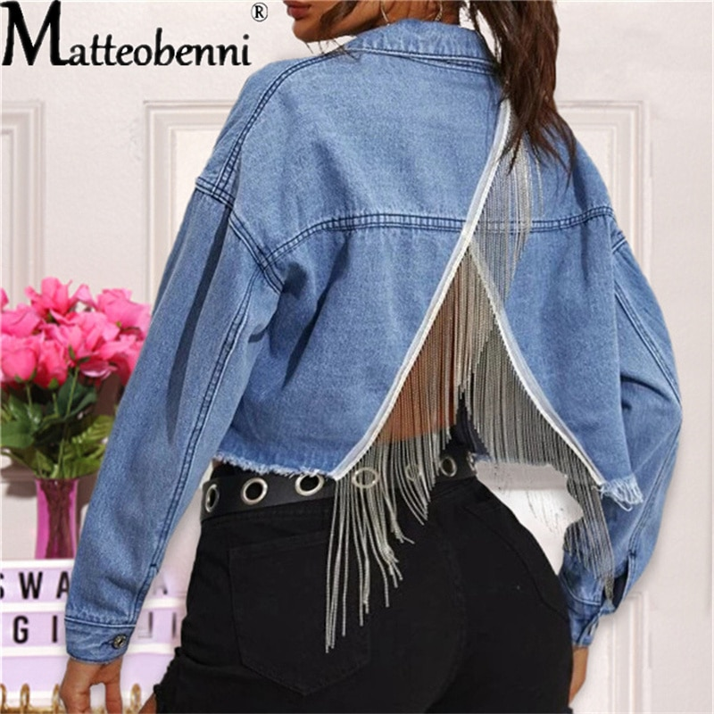 Женские пикантные укороченные джинсовые куртки с открытой спиной, винтажные осенние женские однотонные повседневные куртки-бомберы с длин...