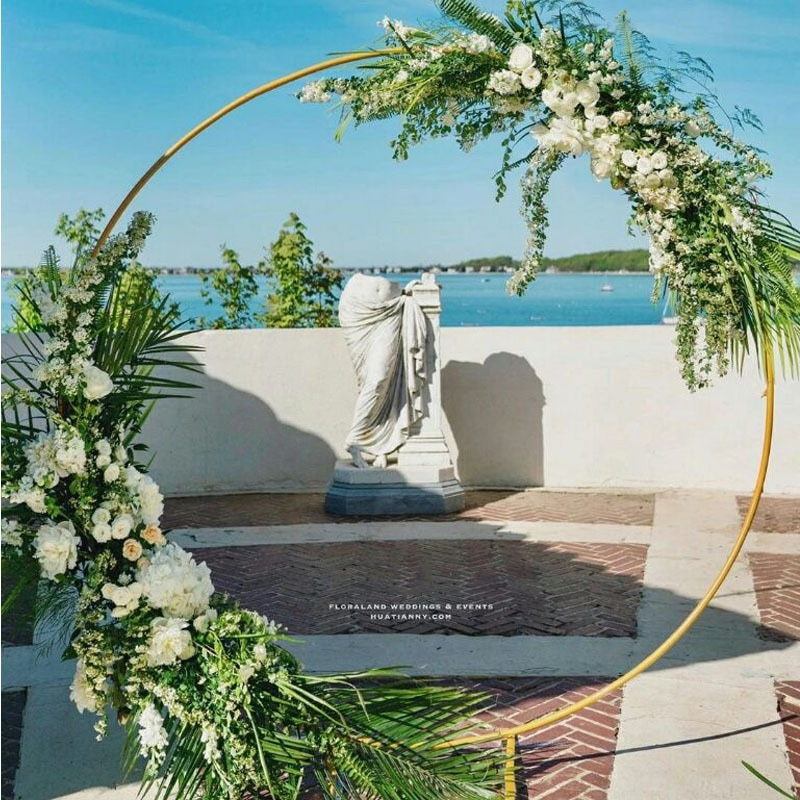 Circle Wedding Arch Background Wrought Iron Shelf Decorative Props DIY Round Party Background Shelf Flower with Frame