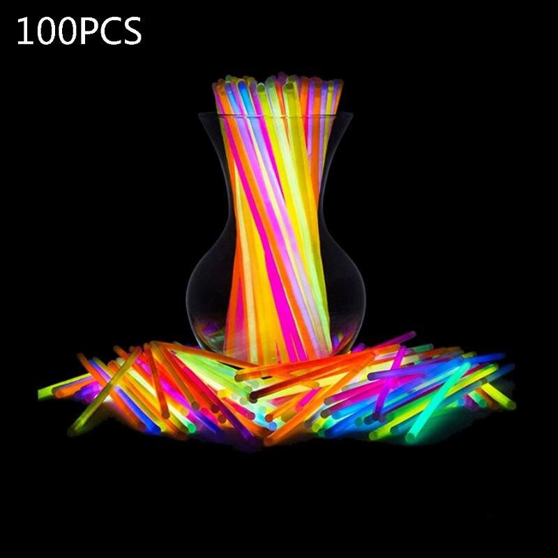 100 одноразовые светящиеся палочки, яркие светящиеся палочки для концерта, детские светящиеся палочки