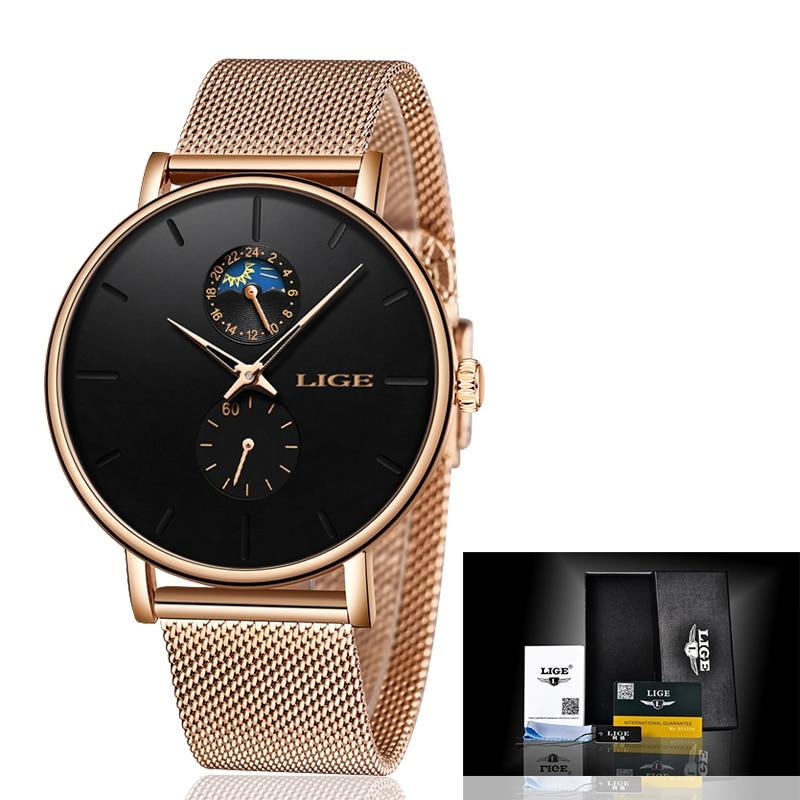 LIGE New Ladies Watches Top Brand Luxury Waterproof Watch Ladies Ultra-Thin Casual Fashion Watch Quartz Clock Relogio Masculino enlarge