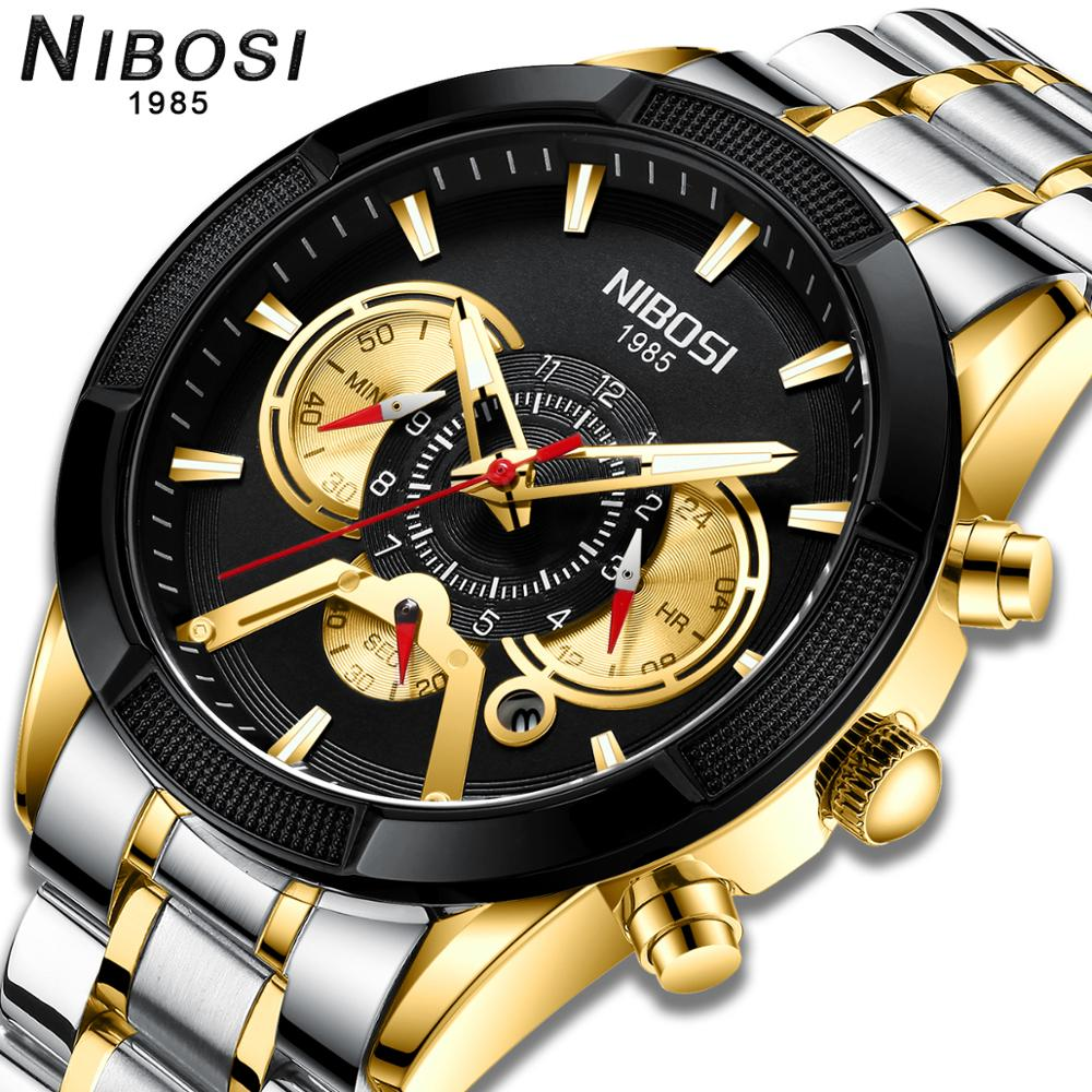 NIBOSI 2020 موضة جديدة رجالي ساعات العلامة التجارية الفاخرة الرياضة ساعة كوارتز بكرونوجراف الرجال مع الفولاذ المقاوم للصدأ Relogio Masculino