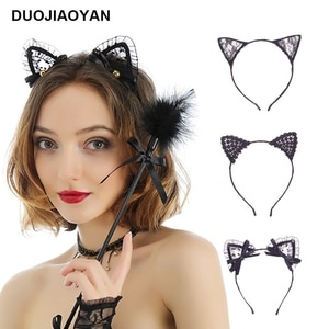 DUOJIAOYAN sexy cat ears headband For Women Sexy Lace Animal Hair hoop Temptation Catgirls Hair Band Cosplay hair accessories